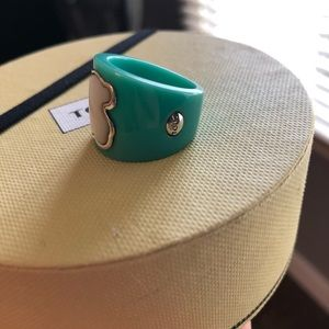 Tous ring, teal with signature bear in MOP